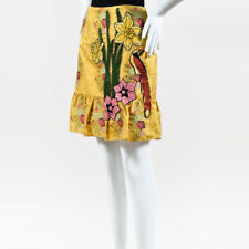 Gucci NWOT Yellow Multi Silk Floral Embellished Skirt SZ 40