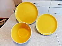 "ONEIDA ""COLOR BURST"" 3 PC. DINNERWARE SET in the ##RARE## SUNFLOWER YELLOW COLOR"
