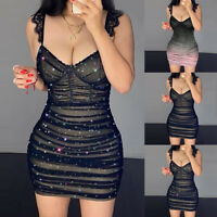 Women's Mesh Sheer Pleated Bodycon Mini Dress Ladies Sexy Party Clubwear Dresses