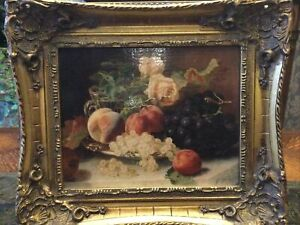 Beautifull Picture Of Fruits&flowers In Ornate wooden frame.