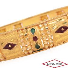 Estate 18K Yellow Gold Red Green Enamel Textured Bangle Bracelet 23.0 Grams NR