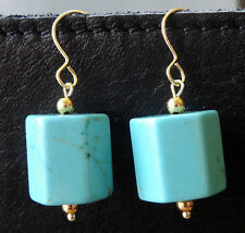 new TURQUOISE & 22ct GOLD on 925 SILVER bead dangle drop pierced earrings -C718
