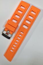 22mm ORANGE Diver's Watch Rubber Silicone ISO Strap Fits Omega, Seiko NEW