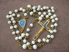 Vintage Catholic Rosary Blue Enamel Crucifix & Virgin Mary center medal