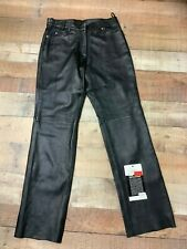 Attractive Unisex Cowhide Black Leather Motorcycle Pants/Jeans  #0125