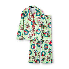 New Girls Flannel Pajamas 2-PC Top Pants/Bottoms PJ Christmas Monkey M 7/8 Green
