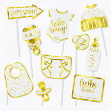 10 Pc Baby Shower Gold Photo Booth Props Gender Reveal Party Supplies Boys Girls