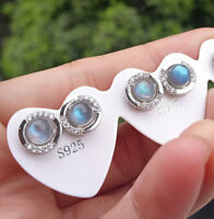Natural Labradorite stone Stud earrings pair 925 silver Reiki Healing Amulet