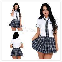 Women Sexy Schoolgirl Lingerie Set Costume Cosplay Uniform Outfit Halloween