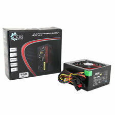 ACE 750W Black Gaming PC PSU Power Supply 6 Pin PCI-E 120mm Red Cooling Fan