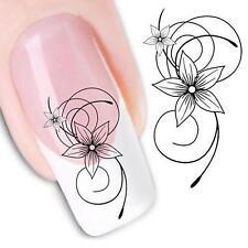 2pcs Black Flower Water Nail Art Sticker Manicure Nail Polish Gel Decal Decor