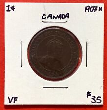 1907 H Canada Large One Cent Coin - $35 VF