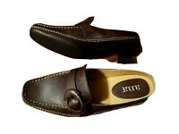 ANA Womens Size 7 M Brown Leather Low Heel Slip-on Loafer Shoes Mock Buckle Nwob