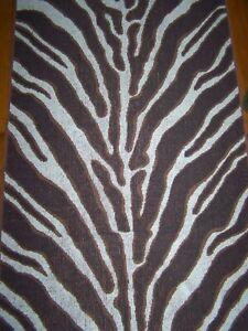 VINTAGE RALPH LAUREN GRASSLAND ZEBRA 1 BATH 2 HAND TOWELS WHITE & BROWN USA