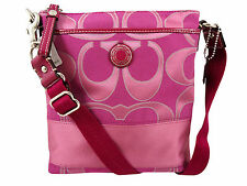 NWT Coach Signature Sateen Fuchsia/Pink/Mauve CROSSBODY/SWINGPACK Shoulder 47671