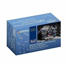CLEARANCE 360 LED Snowing Icicle String Lights, Blue/ White