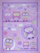 Fabric Pink Mauve Night Owl Cot Panel Quilting Craft Cotton Material Baby