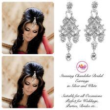 INDIAN Bollywood Lampadario di Cristallo d'Argento Dangle Orecchini Da Sposa Argento Bianco