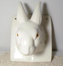 Vintage Large White Rabbit Head Wall Mount/Hang Towel/Apron Holder w/Amber Eyes
