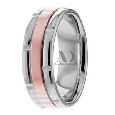 7mm Mens & Womens Solid 14K Two Tone Gold Handmade Wedding Ring