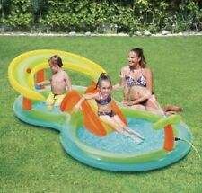 Play Day Splash Play Centre Inflatable Kiddie Pool Slide Sprayer Toss Game 8ft