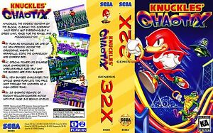 - Knuckles Chaotix 32x Replacement Box Art Case Insert Cover Only