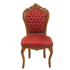 CHAIRS FRANCE BAROQUE STYLE DINING ROYAL CHAIR MAHOGANY / BORDEAUX #60ST5