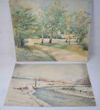Vintage 2 pcs Hand Painted Painting Balkan Summer & Winter Landscape Art Deco