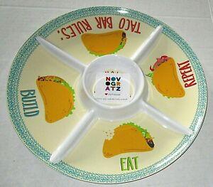 "NOVOGRATZ TACO Chip & Dip Melamine Serving Platter TACO BAR RULES 15.25""Diameter"
