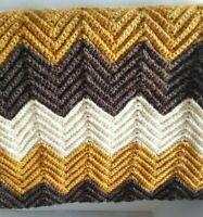 Chevron Handmade Sofa Throw Afghan Blanket 38x60 Brown Charcoal Cream Zig Zag