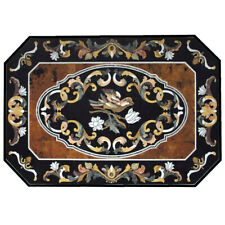 "36""x48"" Marble Inlay Dining Table Top Semi Precious Stones Inlay Work"