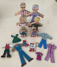 Vintage Wooden Paper Dolls Assortment Crayon Kids Carousel Kids w/Clothes