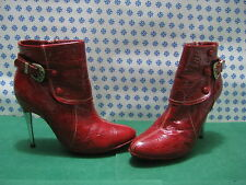 Woman Ankle Boot Bottom Leather Heel 10 Pin N°40 Red