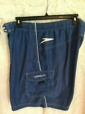 Mens Swim Trunks Board Shorts Speedo Size XXL Blue Lined Draw String