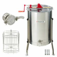 Arebos Extracteur de Miel Manuel avec 4 Cadres et Robinet - Acier Inoxydable (4260627420506)