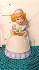 Nurse Bell, Ceramic, by Msr Imports, Holding Tray, Long Blue Dress, White Apron