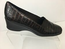 Life Stride 10 M Shoes Women's Wedge Brown Slip On Shiny Alligator Print Casual