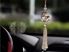 Gold Auto Car Rear View Mirror Pendant Crystal Hanging Ornament Interior Decor