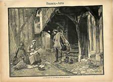 DEPART PECHEUR PAR GIRARDET FISHMAN  1889 GRAVURE ANTIQUE PRINT