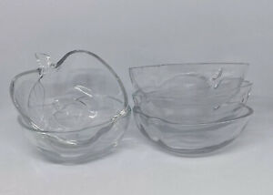 5x Small Apple Shaped Glass Bowls with Embossed Leaf Design - Vintage 1970's VGC