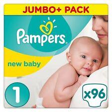 PAMPERS New Born Baby Pannolini Taglia 1 JUMBO CONFEZIONE DA 96 2-5 KG protezione di prima qualità