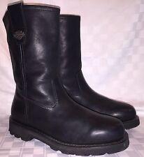 Mens Size 10 HARLEY DAVIDSON 94075 RELEASE SLIP ON Motorcycle Biker Black Boots