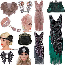 Vintage Peacock Style 1920s Flapper Dress Tassel Fringe Dress Evening Gown Party