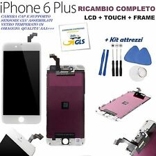 TOUCH SCREEN LCD DISPLAY RETINA FRAME PER APPLE IPHONE 6 PLUS VETRO BIANCO + KIT