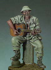 ANDREA MINIATURES SG-F06 - VIETNAM BLUES GUITAR PLAYER - 54mm WHITE METAL