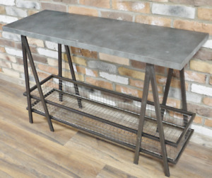 Industrial Side Table Metal Console Unit Storage Basket Shelf Hallway Display