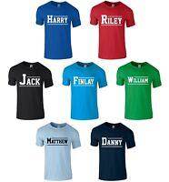 Boys Personalised Varsity Name T-Shirt 1-14 Years Customised Printed Novelty