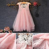2-7Y Toddler Baby Wedding Party Puffy Dress Girls Kid Flower Tutu Princess Dress