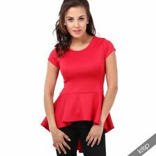 Peplum Machine Washable Solid Regular Tops & Blouses for Women