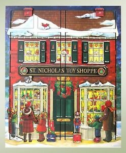 Byers' Choice Musical Wooden Advent Calendar Adventkalender St Nick's Toy Shoppe
